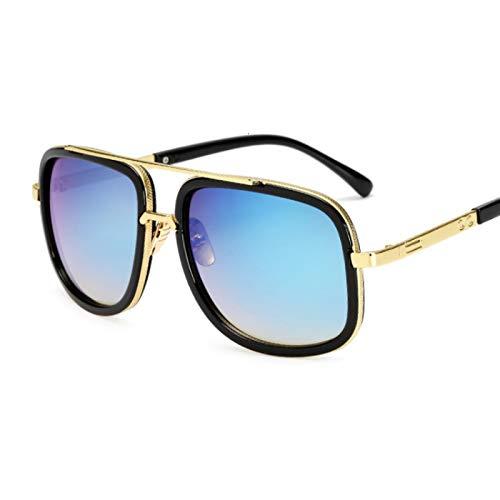 NJJX Gafas De Sol Cuadradas Vintage Para Hombre, Gafas De Sol De Moda De Gran Tamaño Para Hombre Y Mujer, Gradiente De Lujo, Azul Dorado