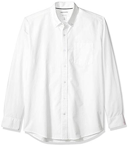 Amazon Essentials Herren-Oxford-Shirt, Langarm, reguläre Passform, unifarben, Weiß (White Whi), L