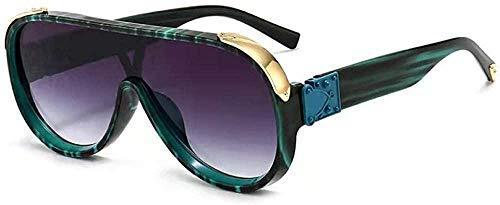 Encaje europeo y americano grande redondo caja de metal frontera gafas de sol-Verde_Bean_Flower_Double_Gray_Film