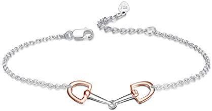 YFN Horse Snaffle Bit Adjustable Bracelet Rose Tone Sterling Silver Stirrup Bracelet for Horse Lover Gift