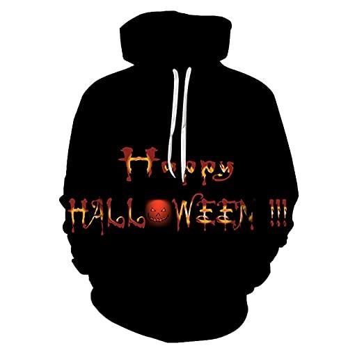 MINGJ Sudadera con Capucha de Halloween Talla Grande Fiesta Informal de Halloween Sudadera de Cobertura con Cordón Suelto,ColorR-XL
