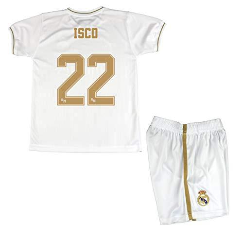 Real Madrid Kit Camiseta y Pantalón Infantil Primera Equipación Temporada 2019-20 Producto Oficial Licenciado - Jugadores (Talla 14, 22 ISCO)