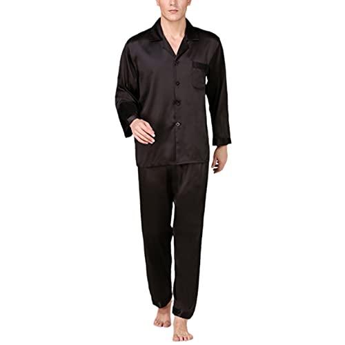 YZJYB Pijama Hombre Largo Solapa De Satén Bata Primavera Verano con Botones Manga Larga Conjunto De Albornoz 2 Piezas Pantalones Largo Estar por Casa,Negro,X~Large