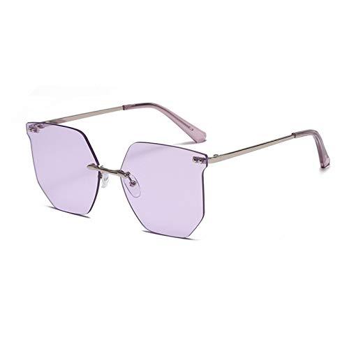 SXRAI Gafas de sol de moda sin montura para mujer, lentes degradadas, C6
