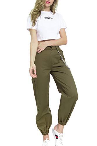YACUN Mujer Casual Pantalones Cargo Pantalon Hip Hop Jogger con Cadena Danza Streetwear Boyfriend Harem