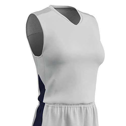 Champro Damen BBJ13WWNY3X Block Polyester-Basketballtrikot, Weiß, Marineblau, Women's 3X-Large