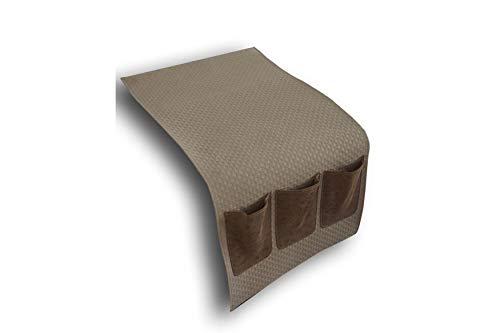 DRW Portamandos Polipiel para Lateral del sofá Beige y marrón 35x2x70 cm