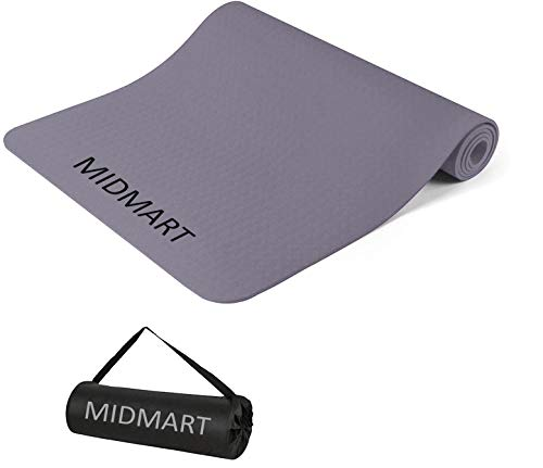 MIDMART Yoga Mat for Men and Women with Carrying Bag for Gym Workout and Yoga Exercise with 6mm Thickness, Anti-Slip (Made in...