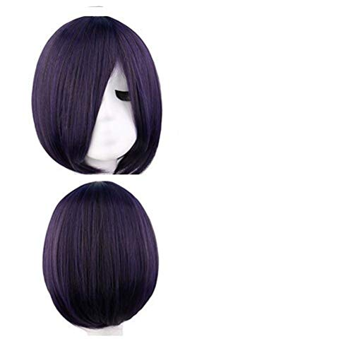 Variété Divers mode élégant bleu noir visage et collection perruque violette (Color : Black red)