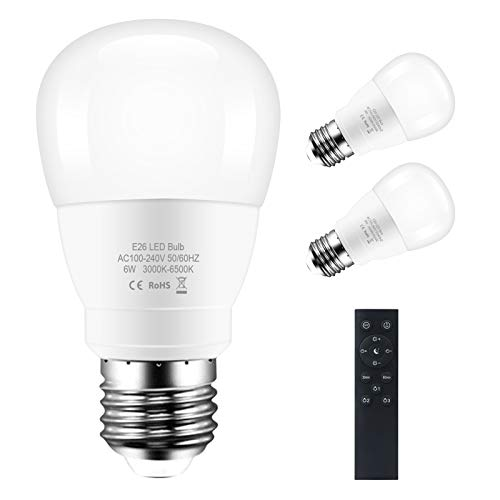 Wellwerks LED E26 Light Bulb, Adjustable Brightness and Color Temperature Dimmable Bulb, Smarts Bulb with Remote Control (3 Pack)