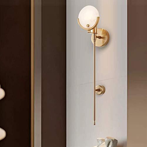 QINGJIA Nordisch Schlafzimmer Wandlampe TV Hintergrund Wohnzimmer Bett Bad Spiegel Vorderwandleuchte Modern Treppe Licht Marmor Langpolige Wandleuchte Gold 12x62cm Zart