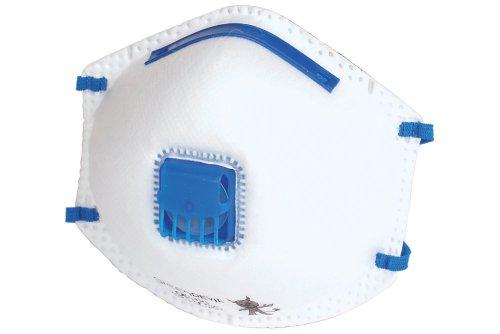 Wolfcraft 4840000 4840000-3 máscaras Antipolvo FFP2 V, con válvula de respiración, Especialmente adecuadas para prevención antigripe, DIN EN 149:2001 + A1:2009 (CE), Set de 3 Piezas