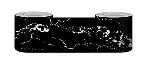 Cenefa de papel pintado impermeable para habitación de los niños, obsidiana, cintura extraíble, adhesivo de pared, zócalo, PVC, borde decorativo para baño, sala de estar, cocina, 12 cm x 500 cm