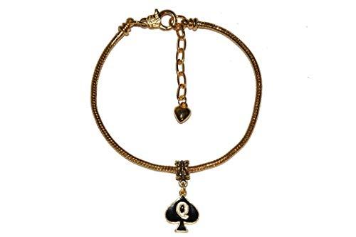 Queen of Spades Fußkettchen Emaille Charm Euro Fußkettchen Schmuck QOS Cuckold Gold - Sexy Jewels