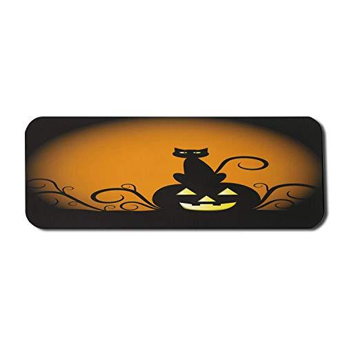 Halloween Katze Computer Mauspad, Silhouette Style Kitty auf Jack O Laterne Kürbis, Rechteck rutschfeste Gummi Mousepad große anthrazit Ringelblume