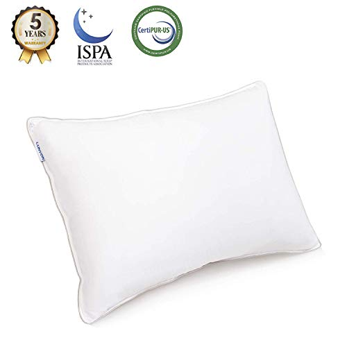 Lunvon Queen Sleeping Pillow Adjustable Shredded Gel Memory Foam Hotel Home Bed Pillow for Sleeping Cooling Cotton Cover CertiPUR-US Certification for Health, White