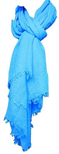 MONETTI FIA Estola de bufanda de mujer - azul claro - 180 x 70 cm - Bu