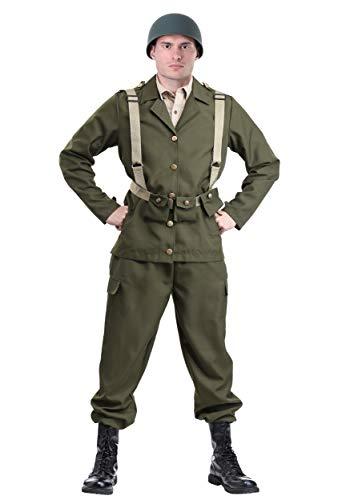 Deluxe WW2 Soldier Costume Medium Green