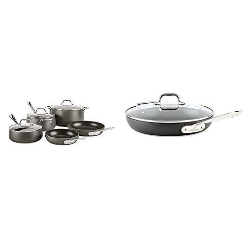 All-Clad 8400001963 HA108AZ HA1 Hard Anodized Nonstick Dishwasher Safe PFOA Free Cookware Set, 8-Piece, Black & HA1 Hard Anodized Nonstick Frying Pan with Lid, 12 Inch Pan Cookware, Medium Grey -