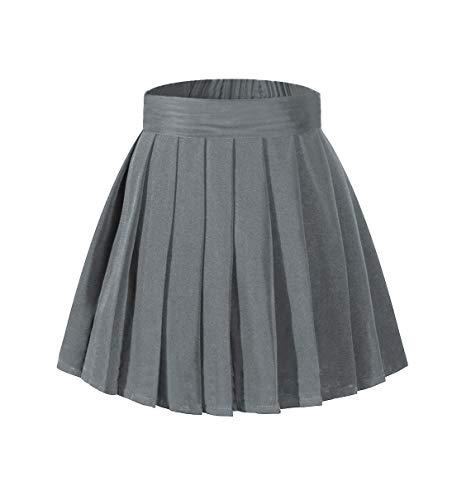 Beautifulfashionlife Women's Plus Size High Waist School Uniform Mini Skirt Dark Grey,2XL