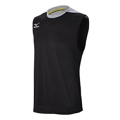 Mizuno Men's Cutoff Volleyball Jersey, Black/Silver, Large