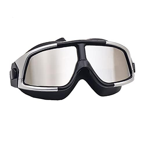 KUANPEY Gafas de natación antiniebla impermeables con marco grande de alta definición, gafas de buceo de luz plana, gafas de buceo para adultos, silicona antiultravioleta (negro plateado)