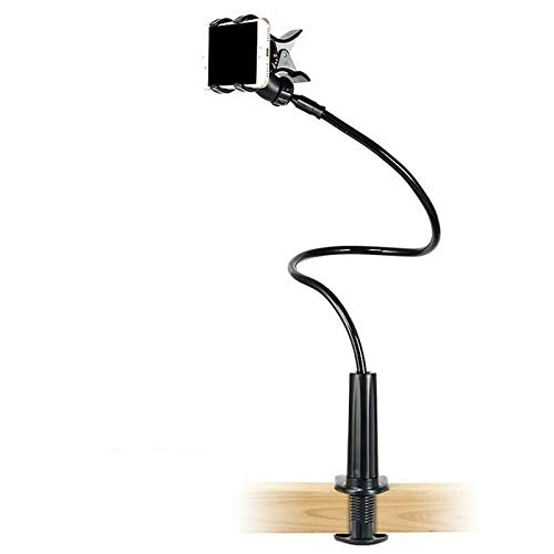 Soporte para teléfono flexible del lado del escritorio Calidad original, soporte creativo para teléfono móvil de escritorio perezoso, soporte desmontable multifuncional (Negro)