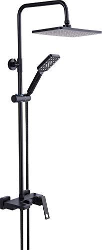 Fala Juego de ducha de lluvia 4 en 1, incluye grifo, alcachofa de ducha, manguera, barra y juego de conexión, color negro, juego de ducha rectangular