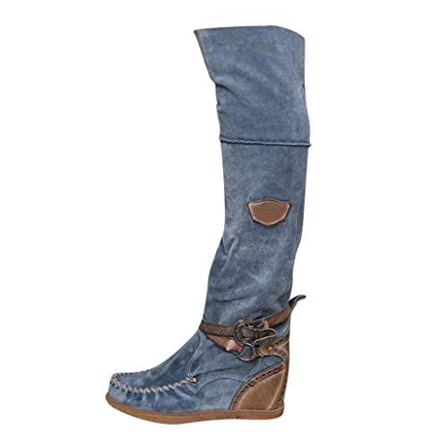 Donna Tacco Allungare Lungo sopra Il Ginocchio Equitazione vestibilità Ampia Alto Stivali Lunghi Casual Shoes (38 EU,Blu)