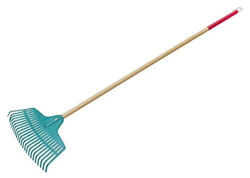 KADAX Rechen, Laubrechen aus Kunststoff für Damen, Harke mit langem Stiel aus Holz, Laubfächer für Garten, Bequeme Gartenharke, Laubbesen, Gartengerät, Gartenwerkzeug (45cm)