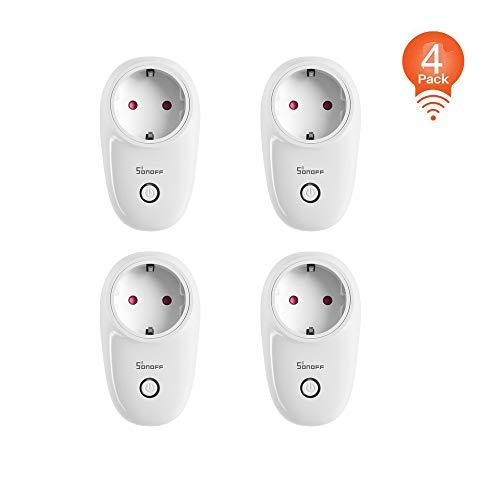 SONOFF S26 Prise intelligente Wi-Fi Fonctionne avec Amazon Alexa, Echo, Echo Dot, Google Home et IFTTT, Contrôlez vos appareils partout (4 pièces)