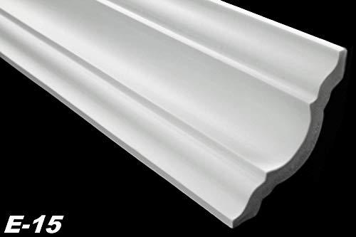 Zierleisten Sparpaket E-15-NK | inkl. vorgefertigte Ecken | leicht und stabil | extrudiertes Styropor | Stuckprofile | modern weiß | dekorativ | XPS | 80 x 80 mm | 20 Meter + 4 Ecken