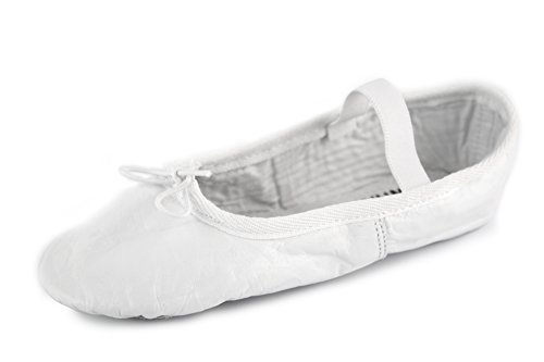 YUMP YUMPZ Balletschuh Moondancer weiß - Ballettschuhe aus natürlichem Soft-Leder und Rauledersohle- Turnschläppchen/Gymnastikschuhe – in Gr.42