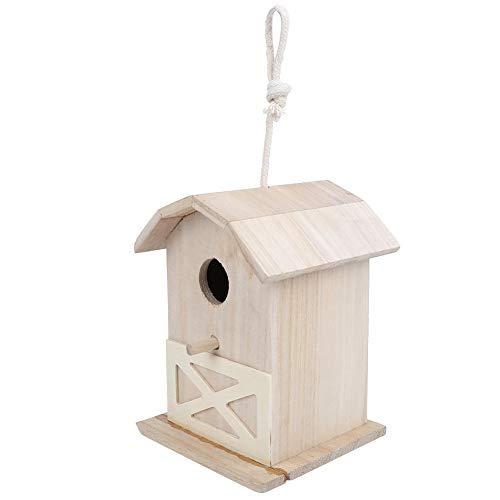 YanyanDz Casa para Pájaros de Madera Creativa Caja Colgante para Anidar Casa para Gorriones Petirrojos para Anidar en Tu Jardín Ver Caja para Pájaros Puesta en Cerca Nido