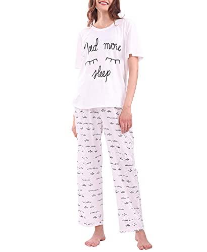 DiaryLook Cute Ladies Pyjamas Sets Print, 2-teiliges Damenpyjama-Set, Need More Sleep Ladies Pyjama UK Größe 14-16 (L)