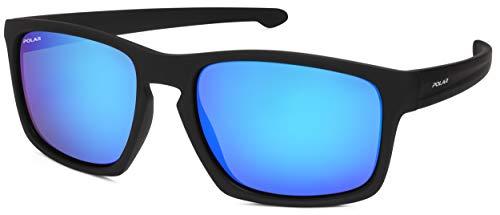 Polar Bottle Unisex Sonnenbrille Polar Rechteckig in Schwarz mit verspiegelten Gläsern