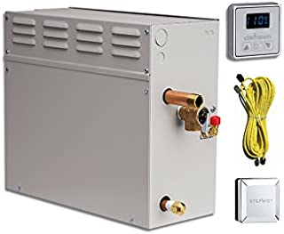 EliteSteam 12 KiloWatt Luxury Home Steam Shower System (Steam Shower Generator, Control, Steam Head, and Cable) (Brushed Nickel Inside Control)