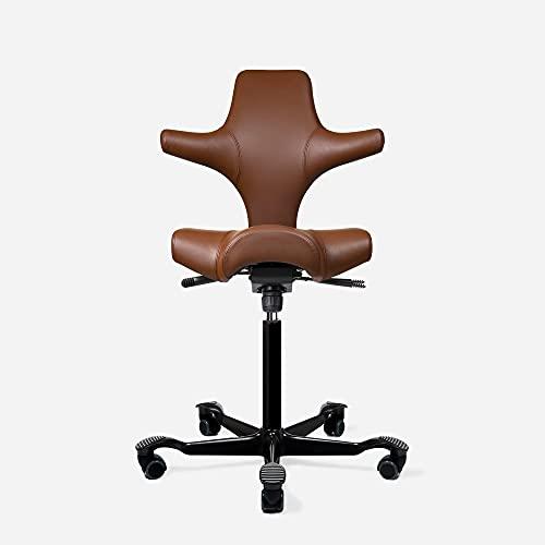 HAG Capisco Adjustable Standing Desk Chair - Black Frame - Leather Tan Brown Seat