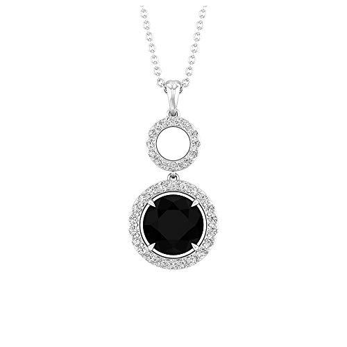 Colgante de diamante negro de 8 mm, colgante de diamante de halo 1/2, collar de círculo abierto de oro amarillo