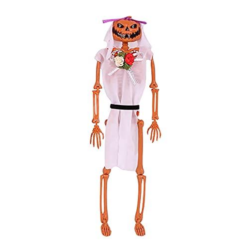 Briskorry Decoración de Halloween, decoración de fiestas, accesorios de calabaza y esqueleto humano, juego de cabeza de espíritu de novia y novio para el hogar, decoración de festival y carnaval.