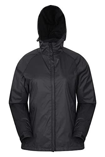 Mountain Warehouse Veste Torrent pour Femmes - Imperméable, Manteau léger, Coutures entièrement soudées, Veste pour Femmes à 2 Poches zippées - Parfaite pour Le Voyage Noir 32