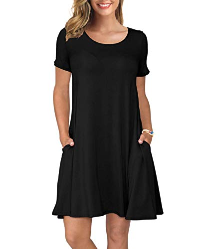 Metme Vestido Holgado para Mujer,Vestido Casual Corto Manga,Vestido túnica de Manga Corta,con Bolsillos Liso, Sencillo Suelto,Negro