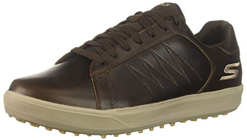 Skechers Men's Drive 4 LX Waterproof Golf Shoe, Chocolate, 9.5 M US (Skechers Go Golf Pro 2 Lx Golf Shoes)