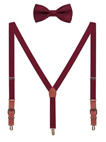 Hosenträger Fliege Sets für Herren Jugendlichen Y Form 3 Anti-Rost Clips Hosenträger Elastisch Verstellbar Classic Schick Gentleman - Bordeaux Rot