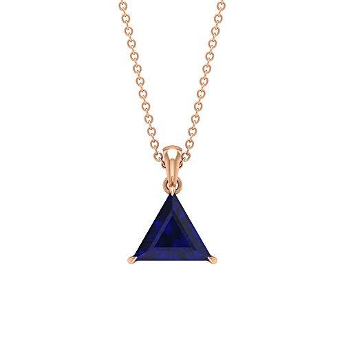 Rosec Jewels 18 quilates oro blanco Triangle Shape Blue Zafiro azul creado en laboratorio.