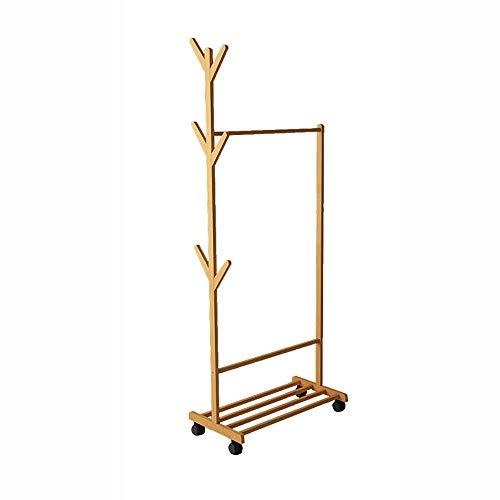 Bamboe staande kapstok modern mouwbaar ophangsysteem slaapkamer eenvoudig huishouden kledingrek mantel vrijstaande rekken (kleur: B-houtkleur Maat: 80 cm) 80 cm-a-primary Color