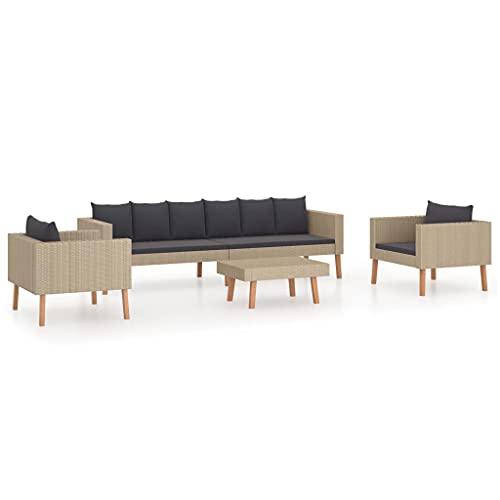 vidaXL Set de Muebles de Jardín 4 Piezas y Cojines Mobiliario Exterior Hogar Cocina Terraza Mesa Silla Asiento Suave Respaldo Ratán Sintético Beige