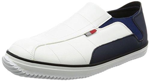 [ケイワーク] かかとが踏める 先芯入り作業靴 セーフティーペコ SS3-WH-L メンズ ホワイト×ネイビー JP L(26cm)