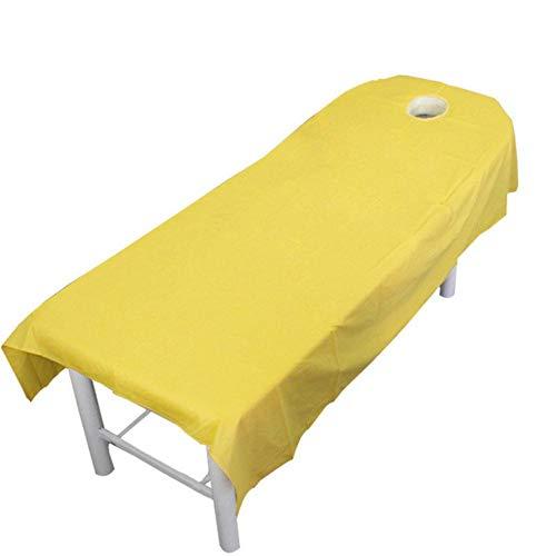 SDFCZ Feuilles de Salon cosmétiques Professionnelles de Couleur Unie en Coton Pur Spa Traitement de Massage Feuilles de Couverture de Table de lit 9 Couleurs Multi-Taille, Jaune, 80x190cm avec Trou