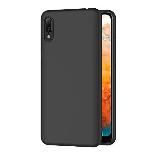 AICEK Compatible Huawei Y6 2019 Hülle, Schwarz Silikon Schutzhülle für Y6 2019 Case TPU Bumper Huawei Y6 2019 Handyhülle (6,09 Zoll)